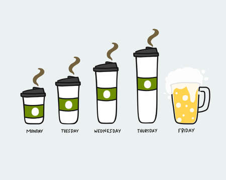 Coffee cup Monday to Beer Friday vector illustration Stock Illustratie