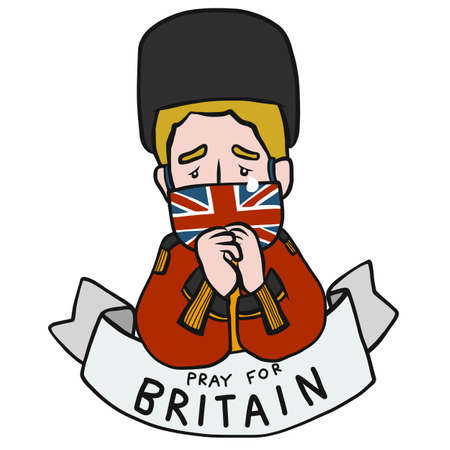 Pray for Britain, Man wearing mark British flag cartoon vector illustration