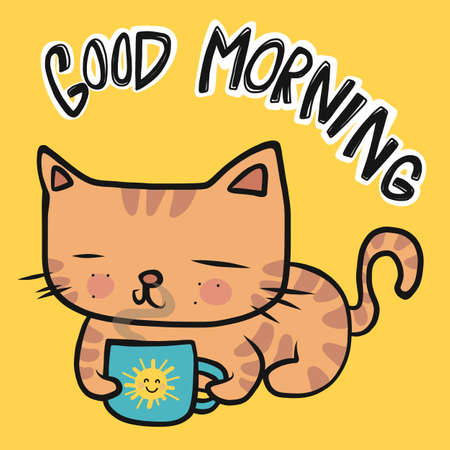Orange tabby cat with good morning coffee cup cartoon vector illustration Stock Illustratie