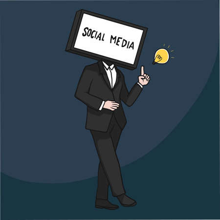 TV head man showing social media on screen cartoon vector illustration Stock Illustratie