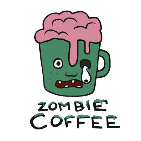 Zombie coffee cup cartoon vector illustration