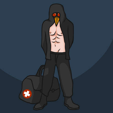 The plague doctor (crow doctor) with military doctor bag showing six packs cartoon vector illustration