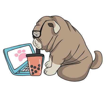 Work from home French bulldog use laptop and drink ice bubble milk tea cartoon vector illustration Stock Illustratie