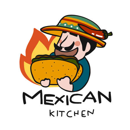 Mexican kitchen logo, man with taco cartoon vector illustration