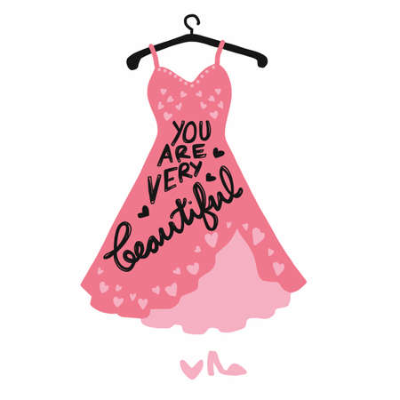 You are very beautiful word of pink dress vector illustration