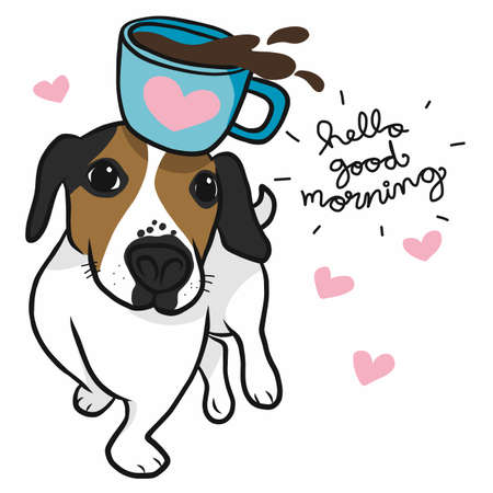 Jack Russell dog with morning coffee cup cartoon vector illustration Stock Illustratie