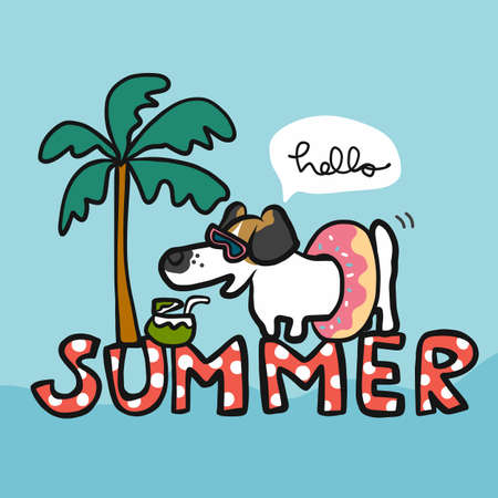 Jack Russell dog in summer time cartoon vector illustration
