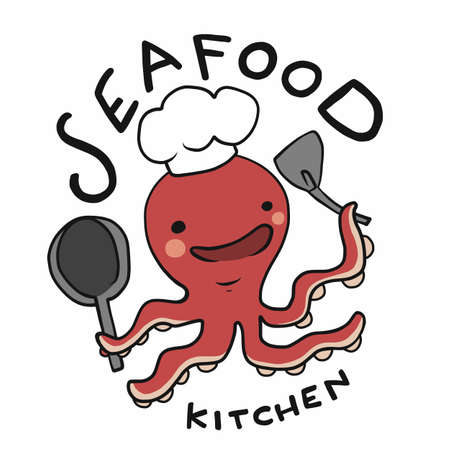 Seafood kitchen logo, Octopus chef cartoon vector illustration