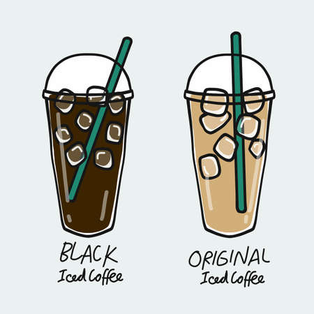 Black iced coffee cup and Original iced coffee cup cartoon vector illustration