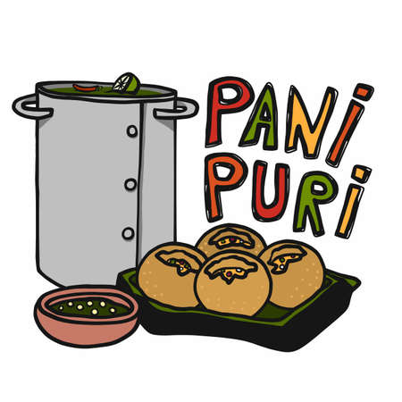 Pani Puri (indian food) cartoon vector illustration