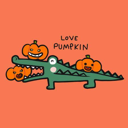 Crocodile love pumpkin, Happy Halloween cartoon vector illustration