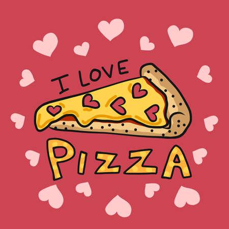 I love pizza cartoon vector illustration