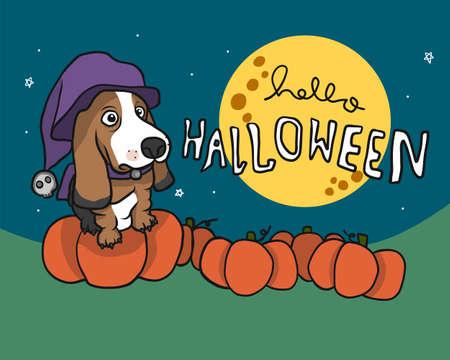 Basset Hound dog in Halloween pumpkins farm and full moon cartoon vector illustration Category Animals