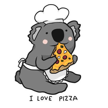 Koala chef eat pizza, I love pizza cartoon vector illustration Ilustração