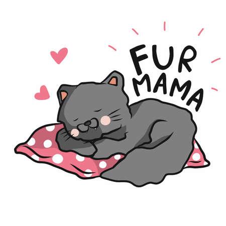 Fur mama, Cat sleeping on pink pillow cartoon vector illustration Ilustração