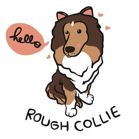 Rough Collie dog say hello with love cartoon vector illustration