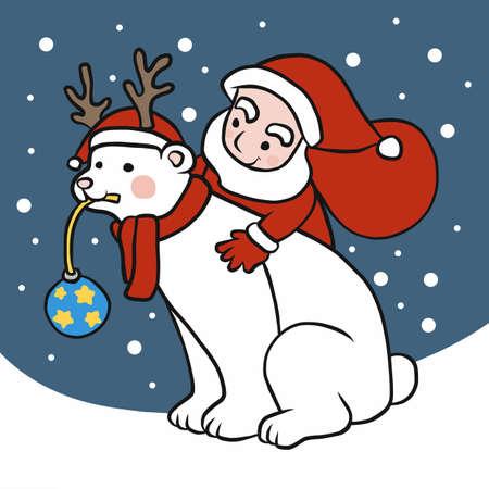 Santa Claus and polar bear wear reindeer hat in winter cartoon vector illustration Ilustração