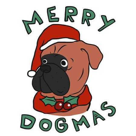 Merry Dogmas , Boxer dog wear Santa hat cartoon vector illustration