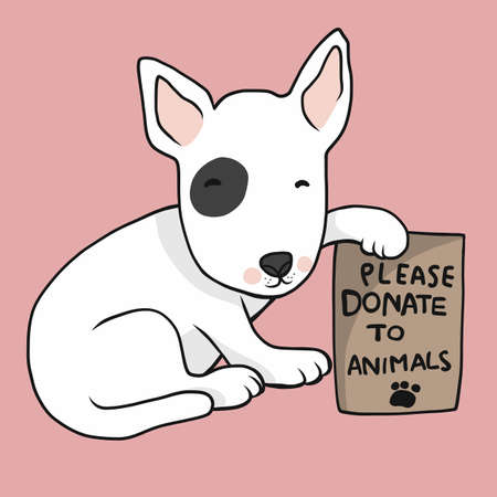 Dog with poster please donate to animals cartoon vector illustration