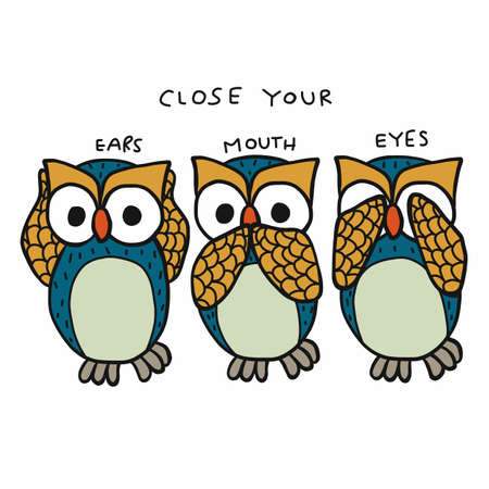Owl close ears , mouth and eyes cartoon vector illustration