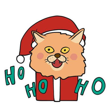 Cat Santa in Christmas gift box say ho ho ho cartoon vector illustration