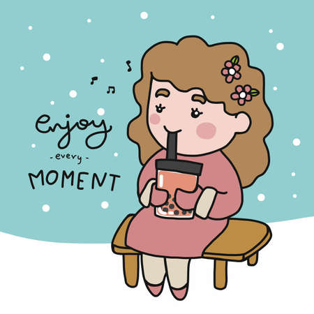 Enjoy every moment , woman drink bubble tea in winter cartoon vector illustration