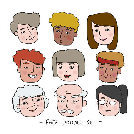 People face cartoon doodle vector set illustration Ilustração