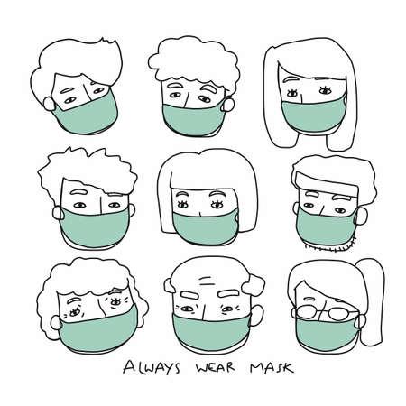 People wear mask cartoon doodle vector set illustration