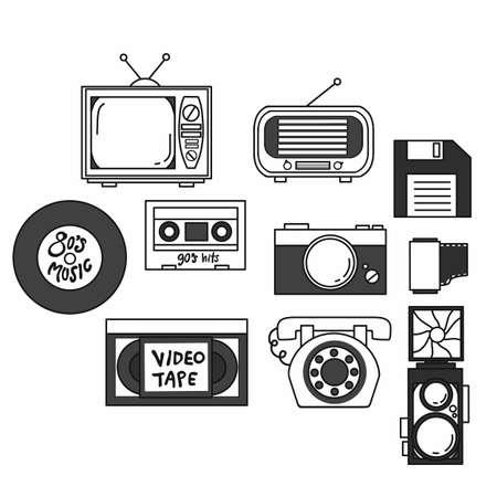 Vintage technology object set flat design Ilustração