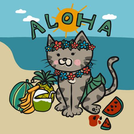 Aloha tabby cat wear Hawaii dress cartoon vector illustration