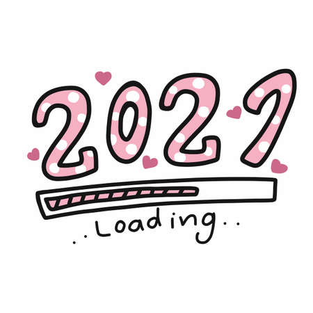 2021 loading word comic style vector illustration Illusztráció