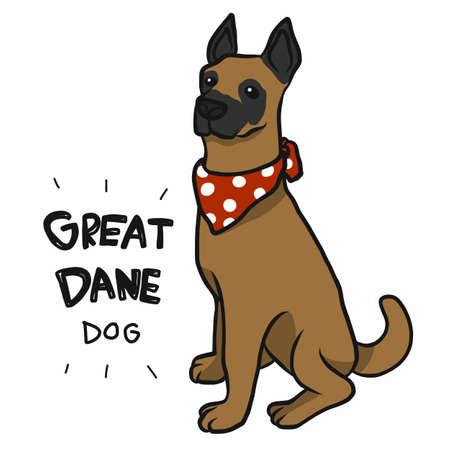 Great Dane dog wear red scarf cartoon vector illustration Ilustração