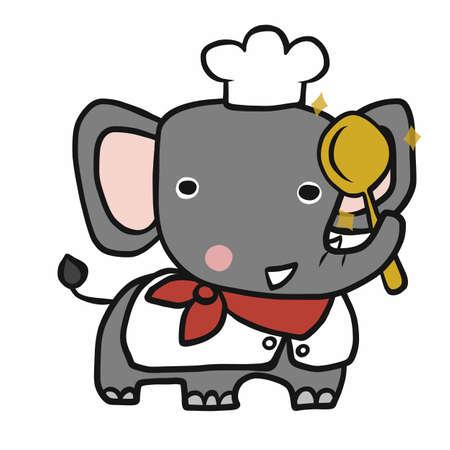 Elephant chef cartoon vector illustration