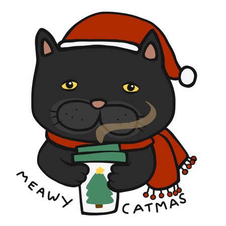 Meawy Catmas , Black cat drink coffee in winter cartoon vector illustration