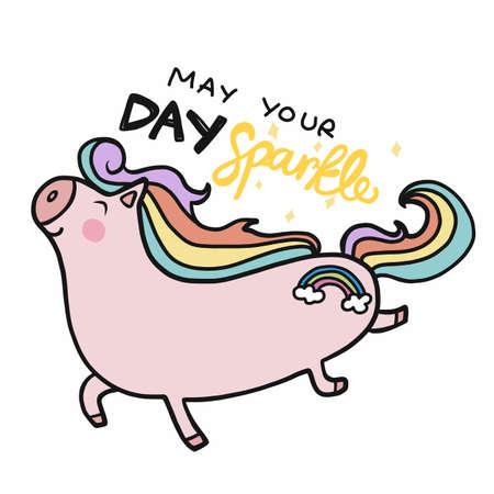 May your day sparkle, Happy unicorn cartoon vector illustration Ilustração