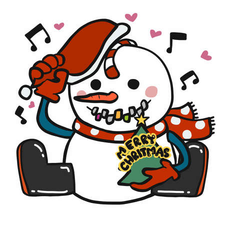 Snowman happy and sing Merry Christmas cartoon vector illustration Ilustração