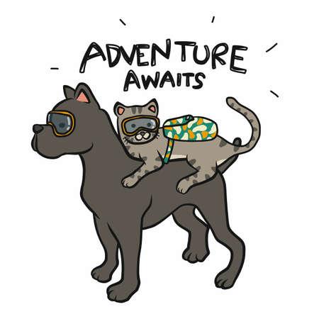 Cat and dog traveller, adventure awaits cartoon vector illustration