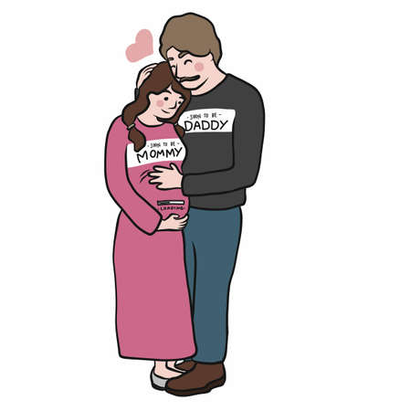 Soon to be mommy and daddy cartoon vector illustration