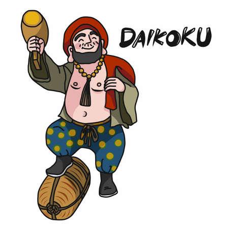 Japanese money god Daikoku (God's name) cartoon vector illustration