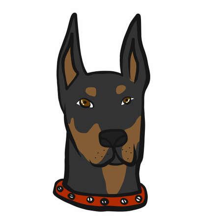 Doberman dog face cartoon vector illustration