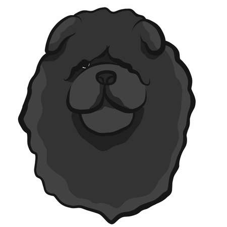 Chow chow dog face cartoon vector illustration