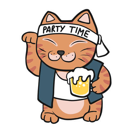 Japanese lucky cat (Maneki Neko) with beer mug cartoon vector illustration