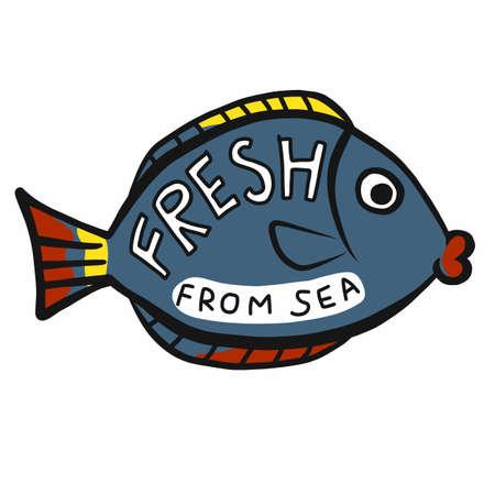 Fish from sea cartoon logo vector illustration Ilustração