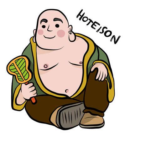 Japanese god name Hoteison cartoon vector illustration
