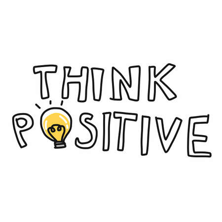 Think positive word and light bulb vector illustration