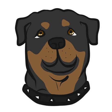 Rottweiler dog face cartoon vector illustration