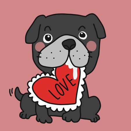 Black bull dog with love heart pillow cartoon vector illustration