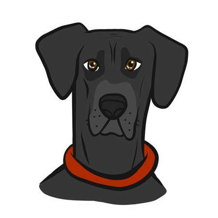 Great Dane dog face cartoon vector illustration Ilustração