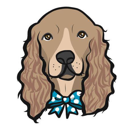 Cocker Spaniel dog face cartoon vector illustration Ilustração