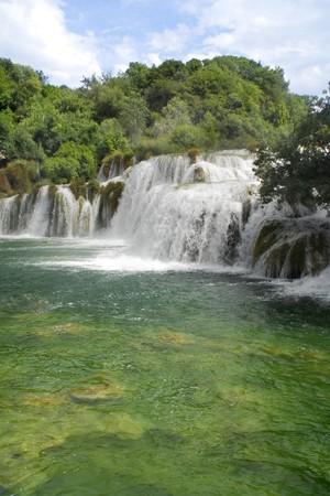 Waterfall and lake Stock Photo